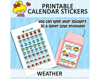 PRINTABLE Cute Kawaii Kokeshi Doll Calendar Stickers for Filofax Organizer Instant Download (Weather)