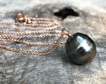 Tahitian Pearl Pendant Necklace - 14k Rose Gold Filled - Single Genuine Baroque Tahitian Pearl - Silver/Bronze Saltwater Pearl