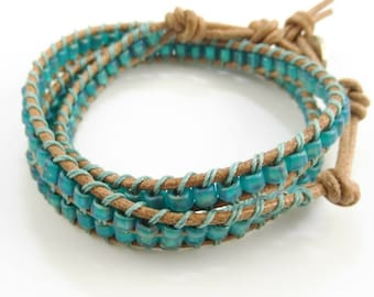 Triple Wrap Ladder Stitch Leather Bracelet - Prima Donna Beads