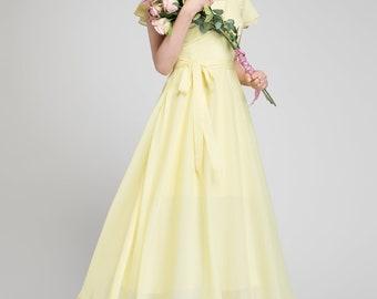 Yellow chiffon dress, chiffon dress,  prom dress, yellow bridesmaid dress, long chiffon dress, romantic dress, ruffle dress  1876