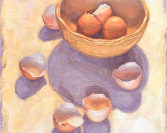 Original Still Life Oil Painting of Eggs, 'Mothership I,'  Framed