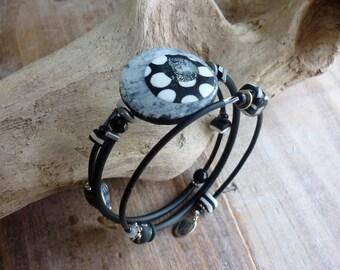 Blanc et blanc mémoire fil Bracelet, bracelet Boho 3 couches pour elle, en pâte polymère bijoux Chic parisien, idée cadeau Saint-Valentin pour une femme