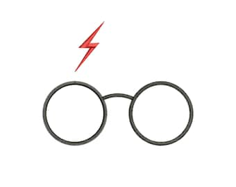 Project based on the idea of the Harry Potter saga - Glasses - lightning: Machine embroidery design