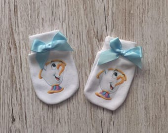 """Beauty and the beast inspired """"Chip"""" Baby Scratch Mitts with blue bow"""