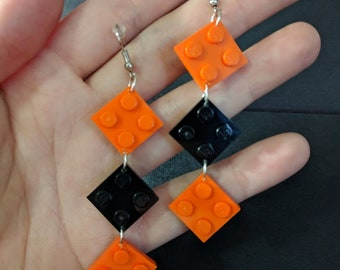 2x2 LEGO plate earrings - Halloween colors