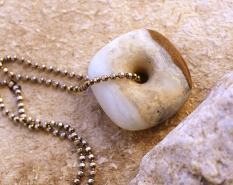 Ocean Picture Rock Matte Focal Bead + Minimalist + Sterling Bead Chain + Contemporary + Modern + Opera Length + Natural + Organic Style