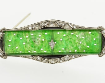 18K 0.71 Ctw Ornate Carved Jadeite Diamond Pin/Brooch White Gold