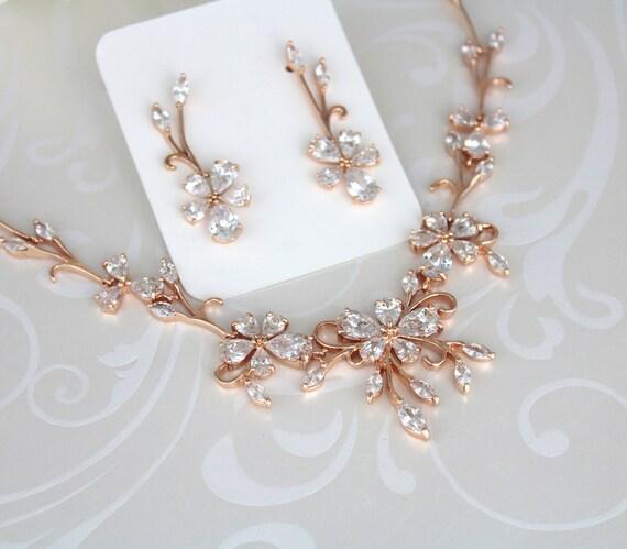 Rose gold necklace Bridal necklace Necklace Set Bridal