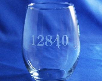 Your Own Zip Code Stemless Wine Glass, Personalized Wine Glass, Personalized Stemless Glass, Stemless Wine, Zip Code, Custom Glass, Juice