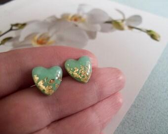 Mint Green Gold Heart Stud Earrings - Hypoallergenic Surgical Steel Post