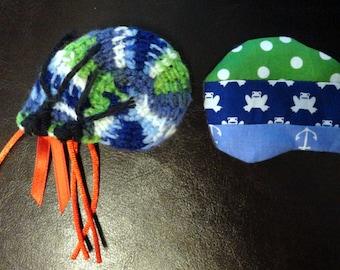 Cat Toy Crinkle Catnip Crochet Hermit Crab green blue seashell custom fill with POTENT catnip (catmint) or lavender sachet frog polkadot