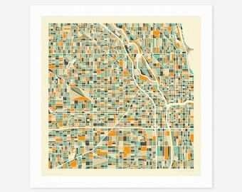 CHICAGO MAP (Giclée Fine Art Print/Photo Print/Poster Print) by Jazzberry Blue (ivory version)