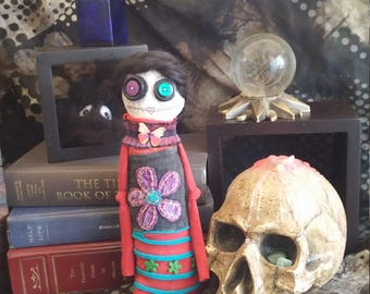 Voodoo Doll, Goth Doll, Day of the Dead, Monster Doll, Halloween Decor, Handmade OOAK Doll, Ugly Doll, Art Doll, Dark Rag Doll