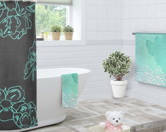 Mint bath towel, Floral beach towel, Bridal shower towel, Mint and white towel, Feminine towel, Green beach towel, Gift for Her, TWdp033-4
