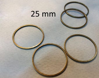 bronze 20 spacer rings 25mm for jewelry making