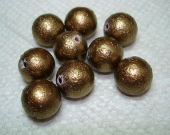Bronze Textured Acrylic Round Beads (Qty 9) - B3048
