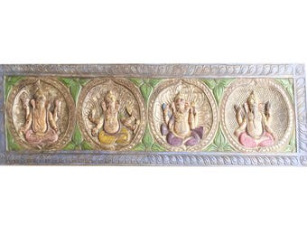 Vintage Ganesha Indian Headboard Wall Sculpture, Shabby Chic One of a Kind, UNIQUE Handmade Artisan Crafted yoga zen Conscious design