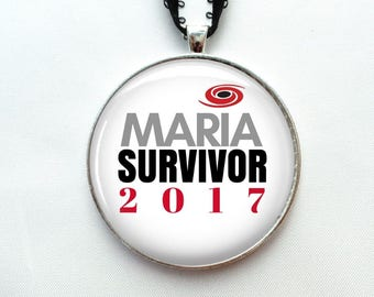 "Hurricane Maria Survivor Ornament - 2"" Christmas Ornament - Car Rear View Mirror Ornament Hurricane Maria necklace pendant gift"