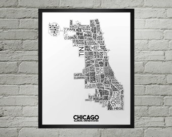 Chicago Illinois Neighborhood Typography City Map Print