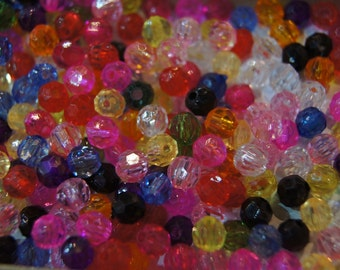 Assorted Faceted Round Acrylic Beads - 6mm - 100 pcs