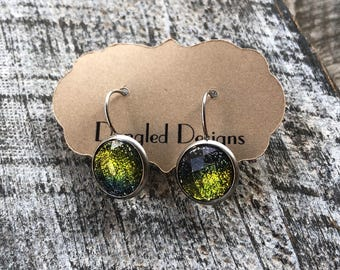 Green Stainless Steel Drop Earrings