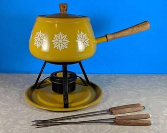 Vintage Gold Fondue Pot Set with 4 Fondue Forks - 1970's Fondue Set - Fondue Night