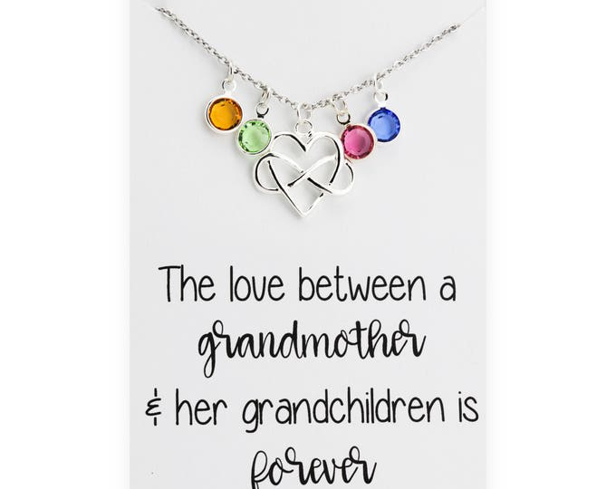 Grandmothers Necklace - Personalized Family Jewelry - Love between a grandmother and her grandchildren - gift for Grandmother - gift for her