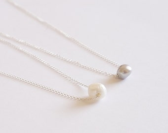 Floating Pearl Necklace Single Pearl Necklace Gift for Her Bridesmaid Gift Bridesmaid Necklace Minimalist Necklace Simple Everyday 0220