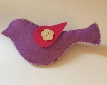Little bird brooch handmade felted brooch