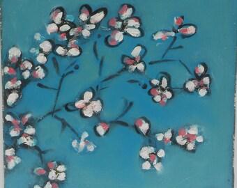 Tableau peinture sur toile FLEURS DE CERISIER