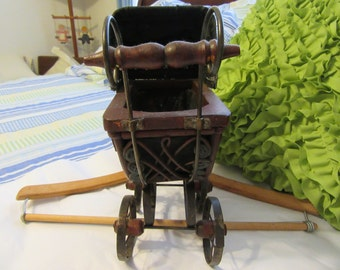 Doll Carriage With Wooden Handle Vintage Small Curved Wicker and Metal Country Decor Home Decor Doll Collector Collectible Gift Idea Unique
