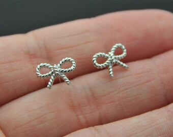 All Sterling Silver stud Earrings, Bow Studs Earrings, Stud Earrings, Tiny Earrings, bow ear studs, cartilage. tragus, helix
