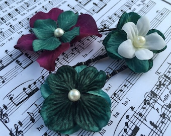 Hair Pin Set- Teal, White, and Purple