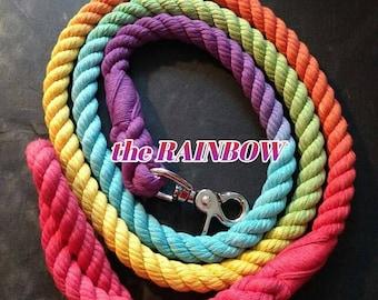 Rainbow cotton rope leash