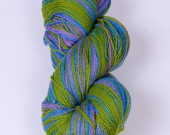 Kauni Wool Yarn, Self-Striping Yarn, Blue Green Lilac, dk 2ply EKS