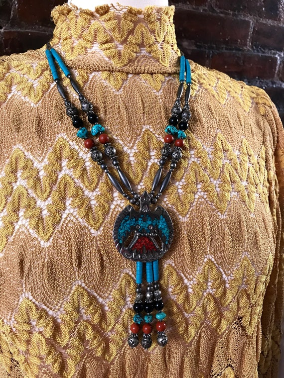 Signed TT Double Strand Silvertone Soutwesten Beaded Thunderbird Pendant Tribal Boho Cowgirl Necklace