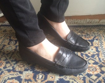 Weejuns Black Leather Loafers Size 8