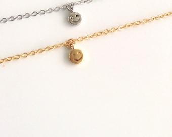 Smiley necklace, Emoticon necklace, Emoji necklace, Silver plated necklace, tiny smiley necklace, thin necklace, Everyday minimalist jewelry