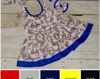 Baseball Peplum Top or Dress, Ruffle Halter Top, Summer Outfit, Boho, Halter Top, Baseball, Toddler Girls Crop Top, Halter Top