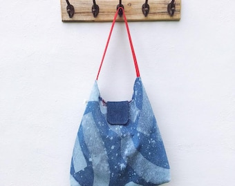 Viva La Stella Hobo Bag // Hand Painted Denim Hobo Bag