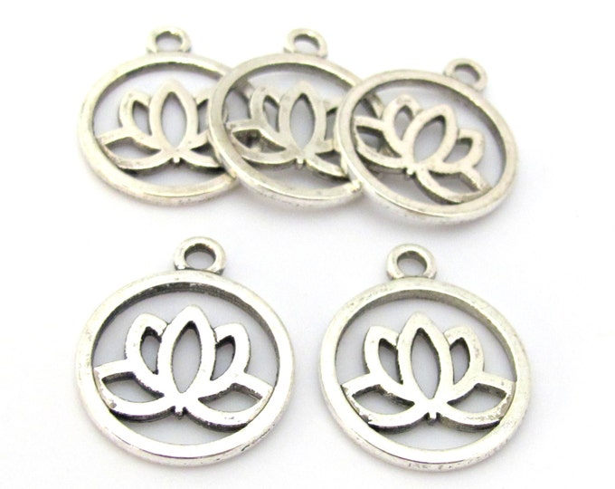 5 charms - Tibetan Lotus flower antiqued silver tone light weight metal charms  - CM160