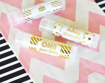 Pink and Gold Party Favors - 1st Birthday Party Favors  - Little Girls First Birthday Personalized Birthday Lip Balm (EB3031FY) set of 16|