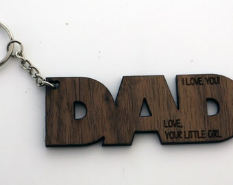 Personalized Dad Key Chain - Keyring for Dad - Wooden laser engraved key fob - Fathers Day Gift with personalized message - custom keychain
