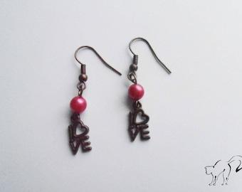 DESTASH earrings bronze Pearl Pink - LOVE