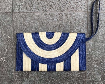 Blue and natural hand made palm leaf clutch bag with wrist strap, lined with zip pocket 28cmx17cm