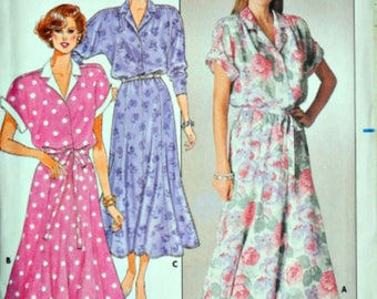 Vintage 80's Butterick 3725 Sewing Pattern, Misses Dress, Size 14-16-18, Bust 36-38-40, Uncut FF, 1980's Fashion