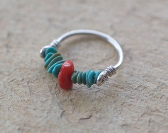Turquoise, Red Coral, and Sterling Silver Ring, size 5