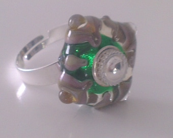 Adjustable ring - square or diamond - Lampwork Glass Bead