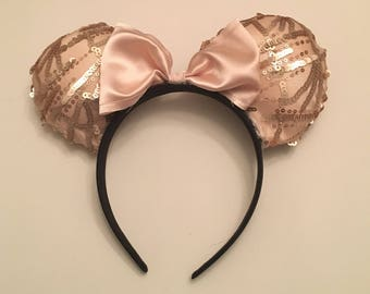 Blush Pink Sequined Minnie Mouse Ears