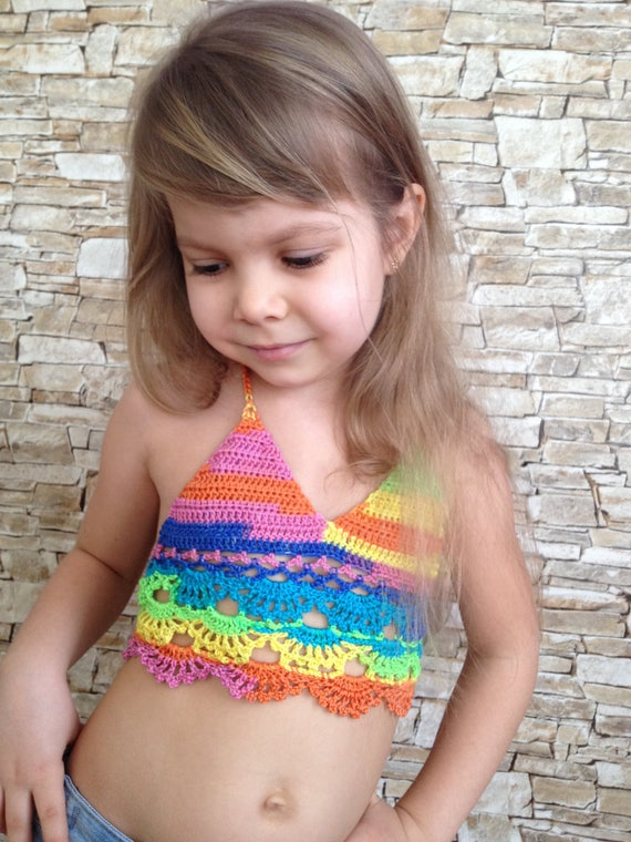 Toddler rainbow lace top Crochet open back top Colorful